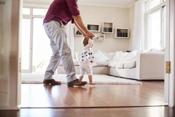 is my furnace overheating?, man teaching baby to walk